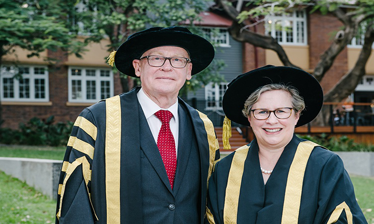 Current University of Southern Queensland Vice-Chancellor, Professor Geraldine Mackenzie and Chancellor, Mr John Dornbusch in their formal academic gowns