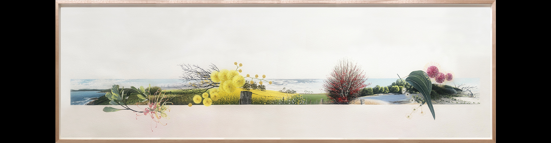 framed painting of wattle